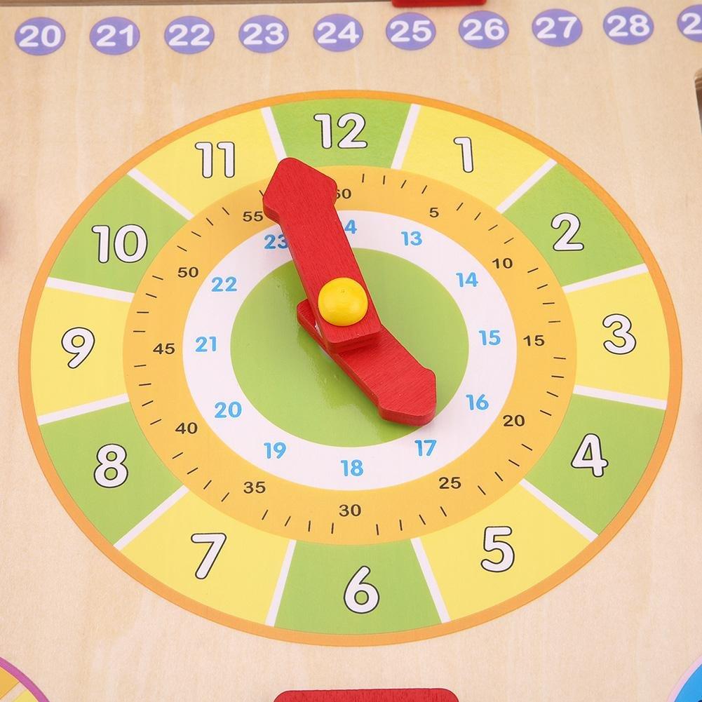 Calendario Legno Bambini.Calendario Didattico In Legno Orologio Educativo Precoce Di Bambini Gioco Orologio Calendario Tempo Mese Settimana Stagione Calendario Tavola