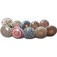 Xfer 002 Assortiment de 10 boutons de portes en céramique style vintage fleuri pour placard, tiroir, armoire