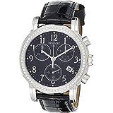 Tissot T050.217.16.052.01 Womens Quartz Watch, Chronograph Display and Leather Strap, Black