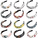 BUYGOO 12 stuks haarbanden voor dames - dames hoofdband haarband vrouwen haarband bloemenprint hoofdwrap twist knopen elastis
