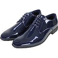 Evoga Scarpe uomo Class blu/nero lucido vernice eleganti cerimonia