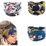 Yean - Fascia per capelli da yoga in stile boho, con stampa floreale e turbante, alla moda, per donne e ragazze (confezione d