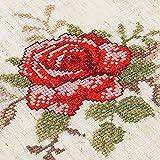 Celosía De Manteles De Tela De Algodón Lace Pastoral Mantel Mantel De Lino Cubierta Silla Traje Cosido Pala,Cruz Rosa Roja (Bordado),Mantel 130×180Cm.