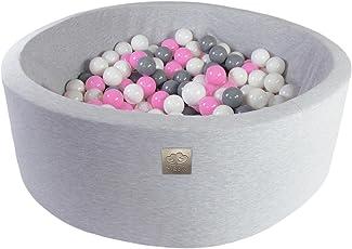 MeowBaby Kinder Bällebad Kugelbad 200 Bälle Made In EU Auf Sicherheit Getestet, Hellgrau:Grau/Weiß/Pink, 90x30