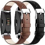 Wanme Voor Fitbit Inspire Band/Fitbit Inspire HR Strap Lederen Bandjes, Verstelbare Vervangingsriemen met Metalen Connectoren