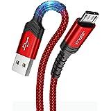 JSAUX Câble Micro USB [1M+2M/Lot de 2] Durable 3A Charge Rapide Câble Micro USB 2.0 Compatible avec téléphones intelligents A
