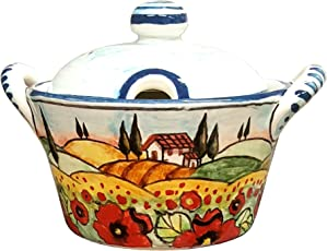 CERAMICHE D'ARTE PARRINI- Ceramica italiana artistica, portaformaggio o zuccheriera decorazione paesaggio papaveri, dipinto a mano, made in ITALY Toscana