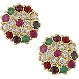 Jewel Pari Gold Plated Cubic Zirconia CZ Stud Earrings Set Jewellery…