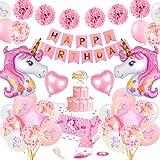 specool Unicornio Decoración de cumpleaños para niña, Rosa Feliz cumpleaños Conjunto de pancartas Unicornio Papel de aluminio