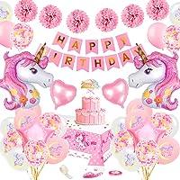 SPECOOL Décoration Anniversaire Licorne pour Fille,Rose Joyeux Anniversaire Bannière Set avec 2 énorme Licorne Balloons…