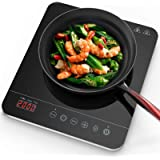 Aobosi induction Hob,Portable Induction Cooker 2000W Black Crystal Glass Surface with LCD Sensor Touch Induction Cooktop…