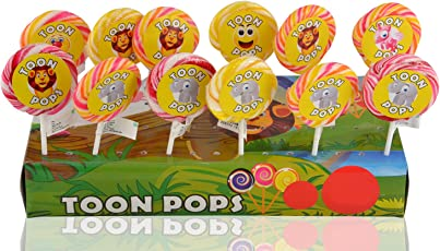 Toonpops Cartoon Lollipops Fruity Flavoured 2.25-inch Round Cartoon Candy Swirl Lollipops (300g, TP25R-12PKT) - Set of 12 Pieces