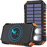 Solar Charger 26800mAh, Hiluckey Wireless Portable Charger Qi Power Bank with 4 Outputs & LED Flashlight, USB C Quick Charge