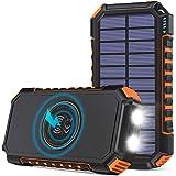 Hiluckey Cargador Solar 26800mAh Batería Externa Inalámbrica Power Bank USB C Carga Rápida Cargador Portátil con 4 Salidas pa