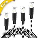 iPhone Charger, iZard Lightning to USB A Cable 4 Pack Extra Long Nylon Braided USB Charging & Syncing Cord Compatible...