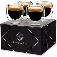 GLASWERK Tasses à espresso design - Verres à espresso à double paroi en verre borosilicaté, Ensemble de tasses à…