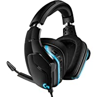 Logitech G635 Wired Gaming RGB Headset, 7.1 Surround Sound, DTS Headphone:X 2.0, 50 mm Pro-G Drivers, USB and 3.5 mm Audio Jack, Flip-to-Mute Mic, PC/Mac/Xbox One/PS4/Nintendo Switch - Black