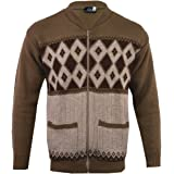 Clothing Unit Mens Zip Up Grandad Cardigan Argyle S M L XL XXL