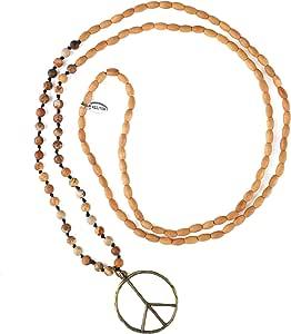 KELITCH Lunghe Collane Ovale in Legno Immagine in Rilievo Collana del Segno di Pace Collane con Pendente Nuove Collane di Cristallo