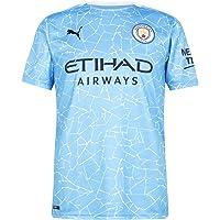 PUMA Men's Official Shirt Season 20/21 Manchester City Fc Replica With Sponsor Logo Football Shirt