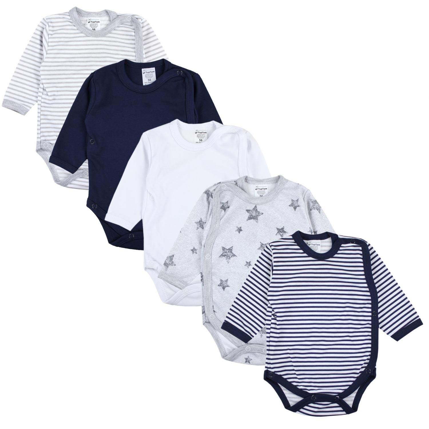TupTam Baby Long Sleeve Bodysuit with Side Snap Pack of 5