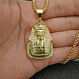 Collana in Acciaio Inossidabile con Ciondolo sfinge Faraone Egiziano e Collana con Strass Bling ghiacciati Hip Hop