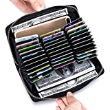 Large Capacity Credit Card Wallet - Leather Secure RFID Wallet for Women 36 Slots
