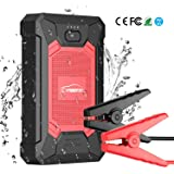 YABER Booster Batterie, 600A 12000mAh IP66 Étanche Booster de Batterie Voiture Moto (Jusqu'à 4,0L de Essence 2,0L Diesel) Robuste Jump Starter avec USB et Lamp LED, Kit Pinces Crocodiles, UL Certifié