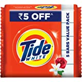 Tide White Detergent Bar Soap Value Pack, 200 g (Pack of 5)