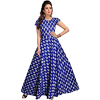 Silver Organisation Women Fit and Flare Cotton Fabric Printed A-Line Maxi Midi Western Long Gown