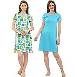Zebu Women's Cotton Solid Above Knee Nightdress (Pack of 2)