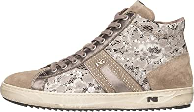 Nero Giardini A806453D Sneakers Alte Donna in Pelle, Camoscio E Tela