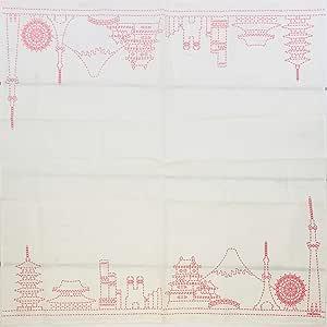 48 cm Giappone City Skyline Rosso Hkc-008 Frontia Fazzoletto in cotone tradizionale giapponese misura grande