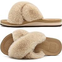 KuaiLu Womens Fluffy Faux Fur Sliders Open Toe Fuzzy Plush Cosy House Slippers Ladies Non-Slip Hard Rubber Sole Flip…