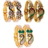 Zeneme Bangle Gold Plated American Diamond Peacock Style Bangles & Bracelets Jewellery for Women and Girls Pack of 3
