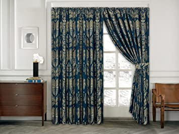 Sandara blue 5 piece jacquard quilted bedspread bedding set with sandara blue 5 piece jacquard quilted bedspread bedding set with matching pencil pleat curtains gg voltagebd Gallery