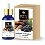 Good Vibes Skin Glow Serum - Vitamin C and Vitamin B3-10 ml - Light Weight Hydrating Formula for Skin Brightening…