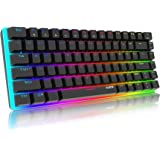Tastiera Meccanica Gaming RGB colorati, 82 Tasti 100% Anti-ghosting Switches Blu,Retroilluminazione RGB con 16.8 milioni AK33