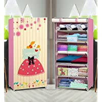 Zemic 6 Layer Fancy and Portable Foldable Collapsible Closet/Cabinet Collapsible Wardrobe for Clothes (Baby Pink…