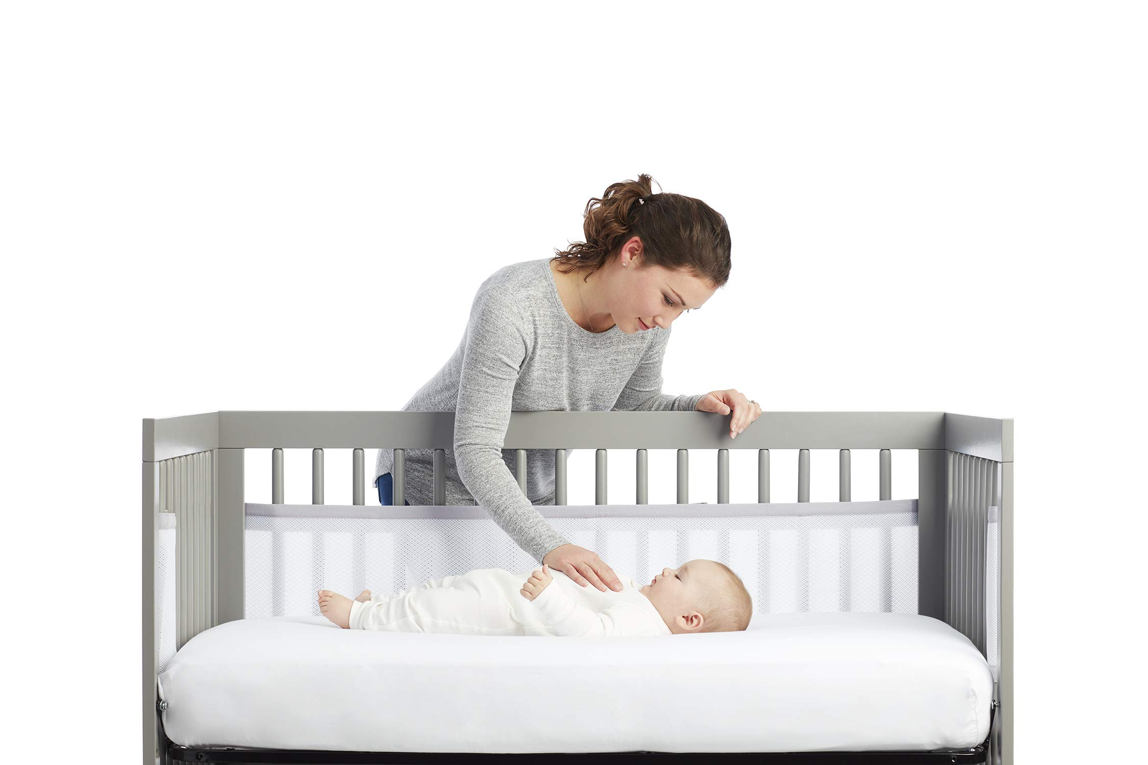 BreathableBaby 2 Sided Cot Mesh Liner (White Mist) BreathableBaby Suitable for solid end slatted cots Reduces the risk of suffocation with its breathable mesh material Design is soft and padded keeping little limbs safely inside 1