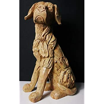 Homezone Large 35cm Rustic Wood Effect Sitting Labrador Dog Sculpture Driftwood Home Garden Ornament Lawn Statue Weatherproof Polyresin Material