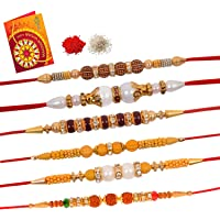DLS Multicolour Wooden Decorative Rakhi with Greeting Card Roli Chawal for Men/Boys, Combo of 6