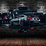 IKDBMUE 5 St/ücke BMW M4 Supersportwagen Wandkunst Malerei Das Bild Druck Auf Leinwand Tier Kunstwerk Bilder F/ür Zuhause B/üro Moderne Dekoration
