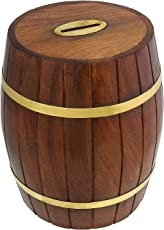 UniqueKrafts Wooden Handmade Money Bank for Coins & Notes Storage Barrel Shape with Brass Double Belt Design | Coin Box | Money Bank for Coins and Money for Kids and Adult
