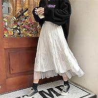N-B Long Tulle Midi Skirts Womens 2020 Autumn Elastic High Waist Mesh Tutu Pleated Skirts Female Black White Long Skirt…