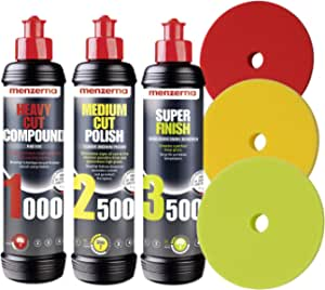 Menzerna Polituren 1000 Heavy Cut 2500 Medium Cut 3500 Super Finish 3 Menzerna Polierpads Politur Set Auto Polier Set Auto