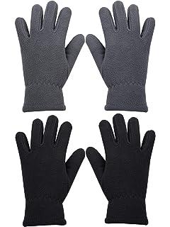 Kids Fleece Winter Gloves  Ages 2-12 Grey Navy Red or Maroon Black Royal