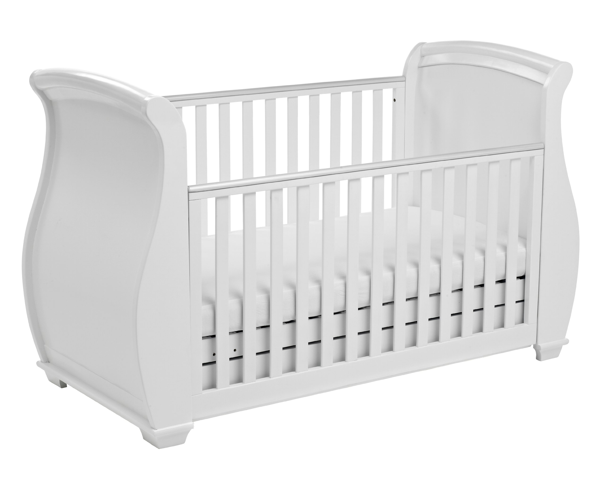 Babymore Bel Sleigh Cot Bed Dropside with Drawer (White)  Magnificent sleigh with appealing look of grandeur and solidity. Easily convert to junior bed/sofa/day bed, Meet British and European safety standards Single handed drop side mechanism allow easy access to your baby. 4