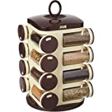 Home Stuff Joie Revolving Plastic Spice Rack 16 in 1 Jar | Multipurpose Uses Storage Set Condiment Masala Rack Set | 16 Piece
