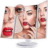 Miroir de Maquillage, Nestling Miroir Grossissant Triptyque avec 21pcs LED, Miroir Lumineux 10X/3X/2X avec Ecran Tactile, Ali